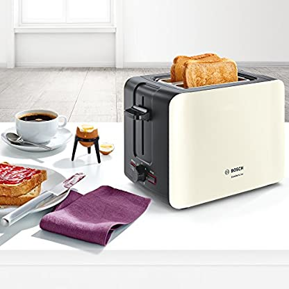 Bosch-TAT6A117-ComfortLine-Kompakt-Toaster-1090-Watt-Auftau-Funktion-automatische-Brotzentrierung-Kunststoff-CremeBlack-Grey