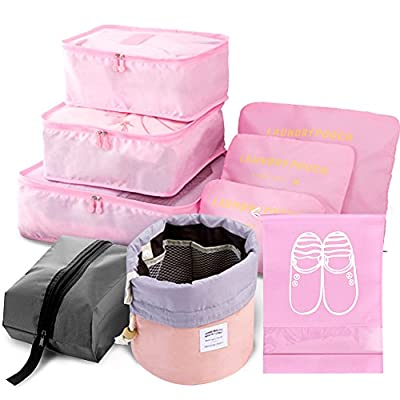 9pcs Travel Organizer Light Packing Cubes include Waterproof Shoe Organizer Toiletry Organizer Large Medium Small Laundry Compression Pouches