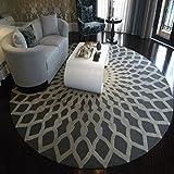 Teppiche im modernen europäischen Stil Runder Teppich für Wohnzimmer Schlafzimmer Bedside Home Chair große Fläche Teppich geometrische Muster schwarz weiß grau Gewaschener Couchtisch Nachttischteppich