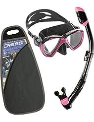Cressi Ranger & Dry Kit Máscara Tubo, Unisex Adulto, Negro / Rosa, Talla Única