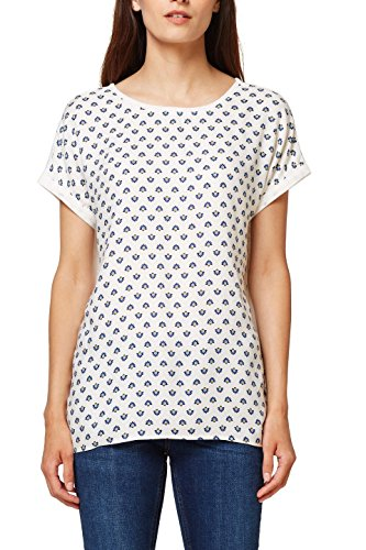 ESPRIT Damen T-Shirt 078EE1K024, Mehrfarbig (Off White 110), Large