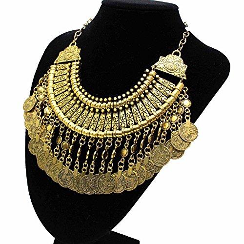 Preisvergleich Produktbild HuaYang Schick Retro Ethnische Art Böhmisch Antalya Zigeuner Fest Türkische Münze Halsband Opulente Halskette Golden Farbe