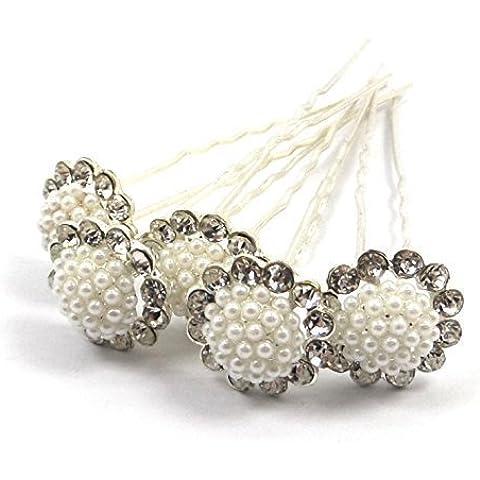 Bride Boutique Bridal Wedding Vintage Style Silver Crystal Diamante & Pearl Cluster Large Hair Pins by Bride Boutique