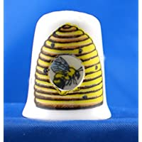 Porcelain China Collectable Thimble - Peephole Bee in Hive by Birchcroft China