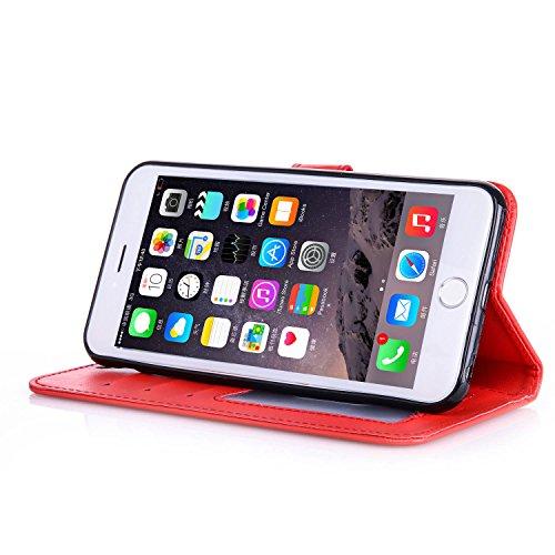 TOCASO Case for Apple iPhone 6 / 6S Custodia in PU Copertura di Ccuoio Cover, Sintetica Ecopelle Pelle Guscio per iPhone 6 / 6S Bronzing oro farfalla Protezione Caso Ultra Sottile shell protettivi Bum Rosso