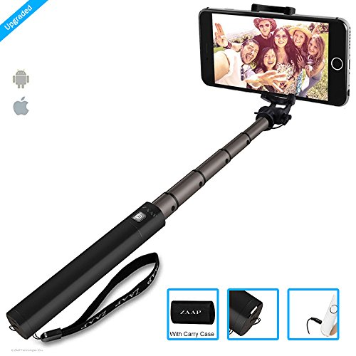 ZAAP NUSTAR4 Aluminium Premium(third Era) Selfie Stick(Battery-Free) with In-built Distant Shutter | For iPhone, Andriod, Gopro & different Smartphones