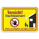 VORSICHT DACHLAWINEN - Winterdienstschilder / WI-005 (30x20cm Schild)