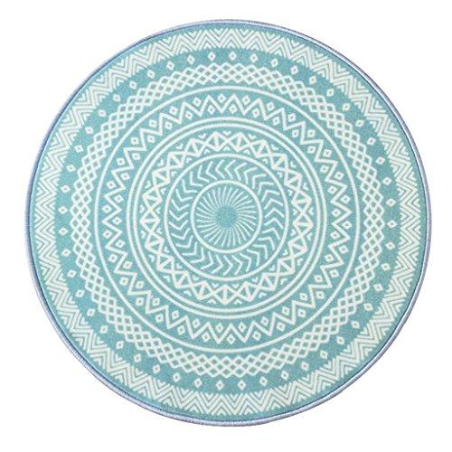 Xi Man Shop Runder Teppich Nordischer Teppich Wohnzimmer  Couchtisch Matte Stühle Nachttischmatte Blau (Size : 120cm) - Couchtisch Blauer