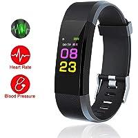 HUG PUPPY Smart ID 115 Fitness Tracker with Heart Rate Sensor Activity Tracker Waterproof Smart Watch (Multi-Colored)