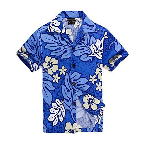 Camisa-hawaiana-de-los-hombres-de-la-moda-de-Aloha-Camisa-hawaiana-de-los-hombres-de-la-hawaiana-M-Azul-con-flores-blancas