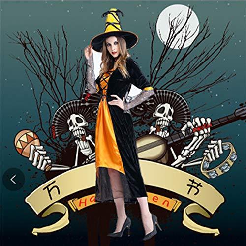 wojiaxiaopu Halloween Horror Hexe Cosplay Kostüm Hexe Cosplay Stage Pack Nachtclub Thema Party Kostüm Orange Einheitsgröße -