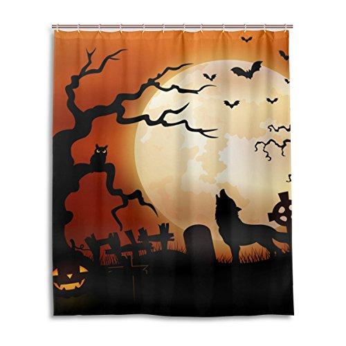 jstel Decor Vorhang für die Dusche Halloween Wolf Night Kürbisse Eule Mond Muster Print 100% Polyester Stoff Vorhang für die Dusche 152,4x 182,9cm für Home Badezimmer Deko Dusche Bad Vorhänge