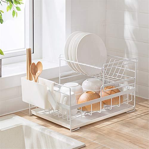WSN Geschirrabtropfständer Professionelles Geschirrspülmittel aus Edelstahl 304 einschließlich Mikrofasermatte Modernes Design mit großem Fassungsvermögen,White