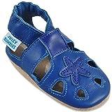 Sandales Bebe Garcon - Chaussure Enfant Garcon - Chausson Cuir Bébé - Spartiates - Étoile Bleue 12-18 Mois