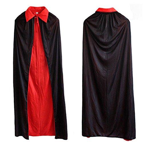 Damen Herren Halloween Umhang Karneval Fasching Kostüm Cosplay Cape Schwarz Rot Reversible 140cm