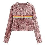 WHSHINE Damen Kapuzenpullover Crop Tops Kordelzug Mode Hoodie Sweatshirt Pullover Langarm Pullover Casual Brief Drucken T-Shirt Fashion Kurzer streetwear Tops (M, Rot)
