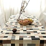 Algodón y lino, lavable a máquina, cena, verano y Picnic mantel, blanco y negro y cuadros, color gris
