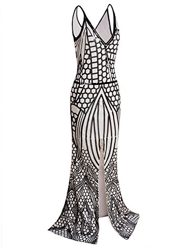 Vijiv Damen 1920 Lange Schlitz-Abschlussball-Kleid mit tiefem V-Ausschnitt Pailletten Mermaid...
