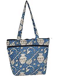 KeKe Kalamkari Blue Musical Prints Handbag