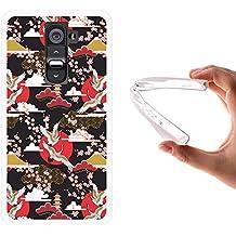 Funda LG G2, WoowCase [ LG G2 ] Funda Silicona Gel Flexible Arte Japonés Ornamento Tradicional, Carcasa Case TPU Silicona - Transparente
