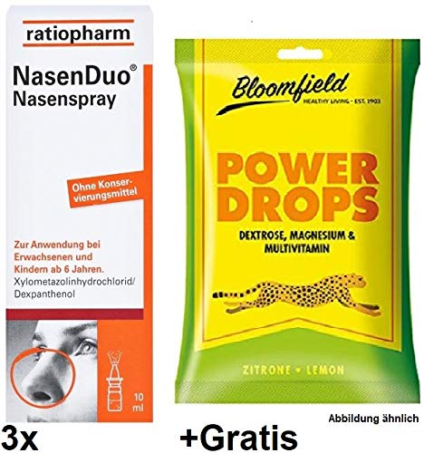 3x10ml Ratiopharm NasenDuo Nasenspray +Gratis Power Drops. Ab 6 Jahren geeignet