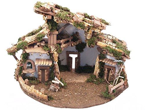 BERTONI leer Holz Krippe Hütte im Chalet-Stil, Holz, Mehrfarbig, 58x 38x 40cm