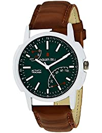 Golden Bell Original Green Dial Brown Strap Analog Wrist Watch For Men - GB-880