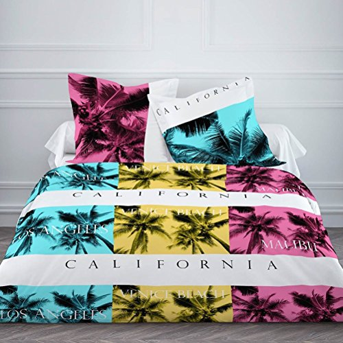 Today 015782 Enjoy California Parure de lit avec Housse de couette/2 Taies d'oreiller Coton Blanc/Bleu/Jaune/Rose 240 x 260 cm