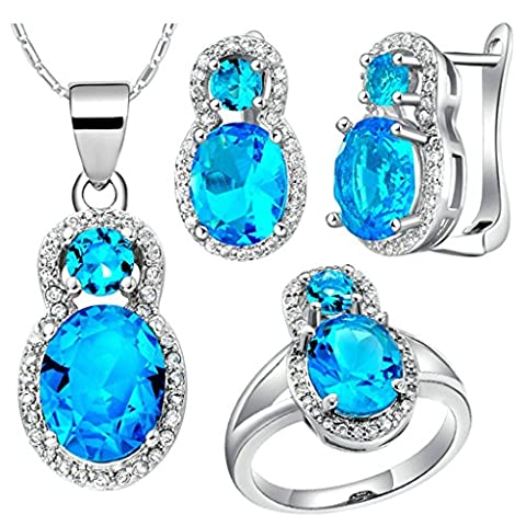 AnaZoz Fashion Jewelry Simple Personality White Gold Plated Women Jewelry Set (Necklace Earring Ring Set) Figure 8 Blue Crystal UK Size R