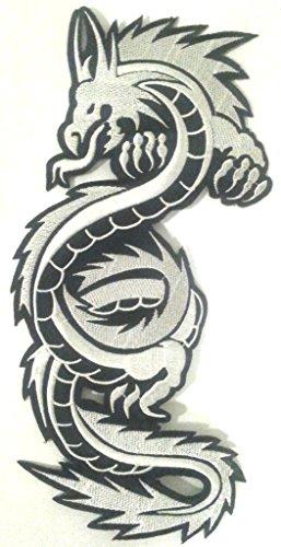 "écusson brodé Appliqué coser Biker Dragón Chino pegatinas parche Badge Dragon de ropa grande talla ""Dragon negro D Plata 27x 12cm"""