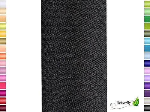 Deko Stoff 15cm Tüllband Netz Rolle Tüllstoff Tütüs Hochzeit schwarz 030 ()