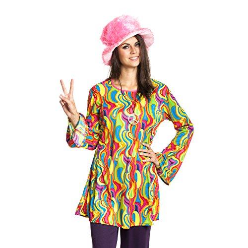 Kostümplanet® Hippie-Kostüm Damen Top Oberteil bunt Sixties 60er Jahre Größe (Kostüm Sixties)