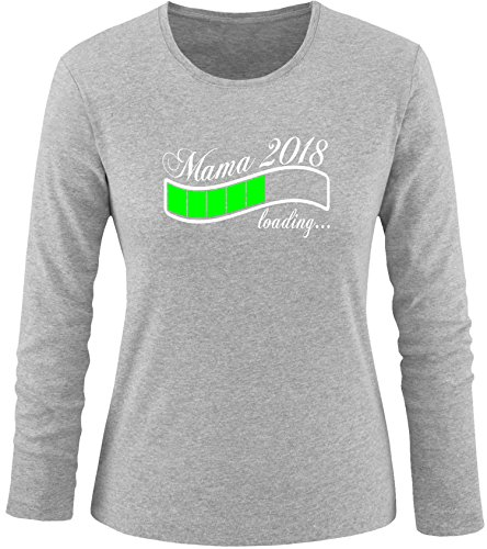 EZYshirt® Mama 2018 Damen Longsleeve Grau/Weiss/Neongr
