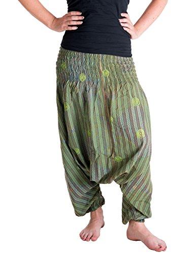 Vishes �?Alternative Bekleidung �?Mit konzentrischen Kreisen Spiralen bedruckte Haremshose aus Baumwolle mit super elastischem Bund �?handgewebt Olivegrün