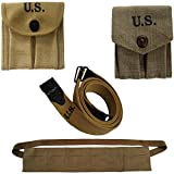World War Replica M1-Carbine-Khaki-Canvas-Magzine pouc+Thompson Khaki Web Sling-Kerr Sling+ Bandolier for M1 Garand+.45 cal-1911 Double Magazine Pouch