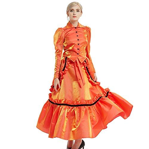 GRACEART Steampunk Edwardian Vestido de Chaqueta y Trajes de Falda con Bullicio (Naranja, 6)