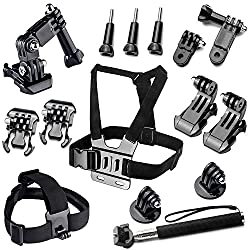 BAXIA TECHNOLOGY Essential Accessories for GoPro HERO 4 3+ 3 2 Black Silver Accessory Kit for GoPro 4 3+ 3 2 1 Sports Camera Accessories Bundle Kit for SJ4000 SJ5000 SJ6000