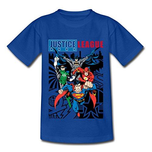 Spreadshirt DC Comics Justice League Comic Cover Kinder T-Shirt, 110/116 (5-6 Jahre), Royalblau