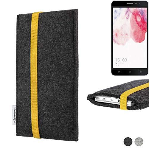 flat.design Handy Hülle Coimbra für Hisense F20 Dual-SIM passgenau Handytasche Filz Tasche fair schwarz gelb
