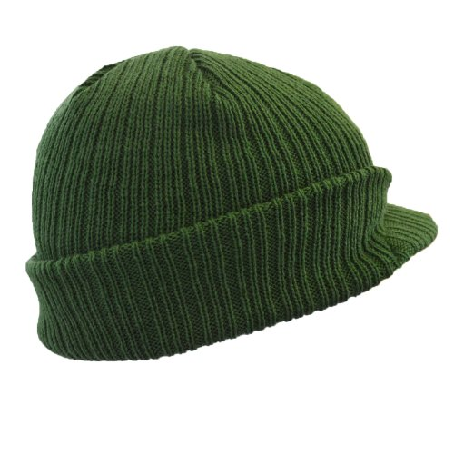 euro-peaked-beanie-knitted-hat-with-peak-in-6-colours-winter-beany-army-green