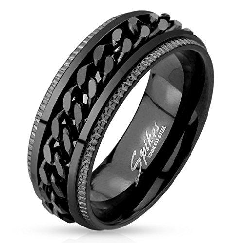 Mianova-Edelstahl-Herren-Biker-Ring-Ketten-Style-Schwarz