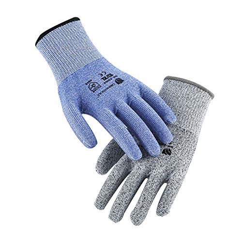 2er-Pack Unisex-Schutzhandschuhe mit Schutzstufe 5 (höchster Schutz). (EN388 zertifiziert, Lila und Grau, Größe 10 / Extra groß)