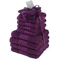 Dreamscene - Juego de Toallas de baño de 100% algodón Egipcio, Color Morado y