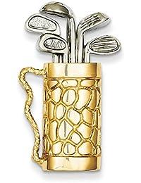 14ct Gold Golf Tasche mit Vereine Anhänger–Maßnahmen 28,6x 16.6mm