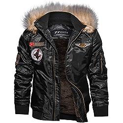 Homme Blouson Bomber Veste Jacket Manteau À Capuche Flight Aviateur Manches Longues Zip Hoodie épais Veste Hiver BaZhaHei(Noir,XL)