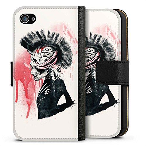 Apple iPhone X Silikon Hülle Case Schutzhülle Punk Totenkopf Skull Sideflip Tasche schwarz