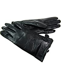 Ladies Womens New Super Soft Premium Luxary Genuine Leather Gloves Fully Lined Winter Warm Everyday Driving (Medium, Black)