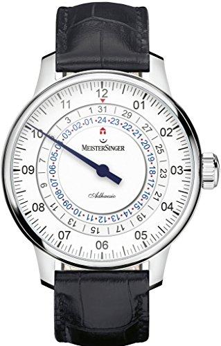 Meistersinger Adhaesio AD901 - Reloj de Pulsera para Hombre con Esfera Blanca analógica y Cristal de Zafiro de 43 mm, Correa de Piel Negra, Hecho en Suiza