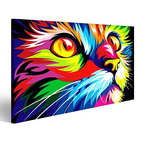 Bild Bilder auf Leinwand Bunte Katze Banksy Moderne Kunst Abstrakt Wandbild, Poster, Leinwandbild JZN