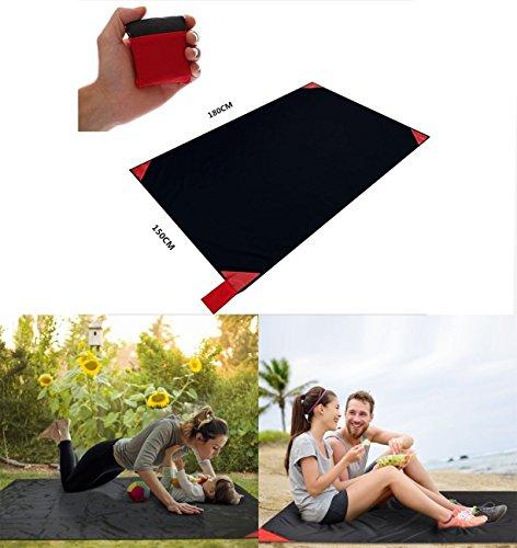 Roter Kristall Pocket Picknickdecke Ultraleichte Stranddecke Campingdecke und Outdoor Strand Decke Tragbar Den Außenbereich 150*180cm(L) Rot
